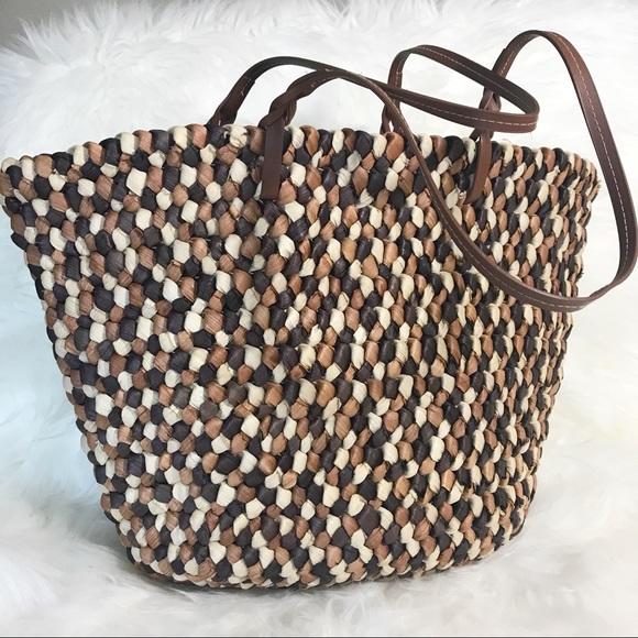 ded6c5cd2 Handmade Braided Multicolored Straw Handbag